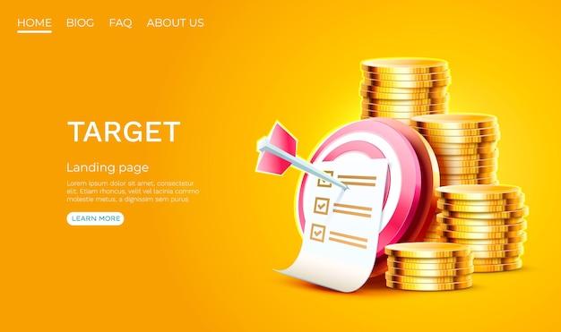 Alvo página de destino pilha moedas banner negócios d ícone do vetor