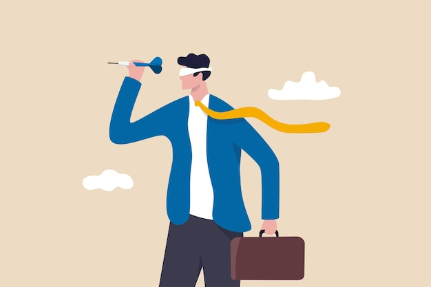 Alvo pouco claro ou visão de negócio cega, falha de liderança ou erro visando objetivo, conceito de gestão não treinado ou não educado, empresário confuso com os olhos vendados jogando dardo.