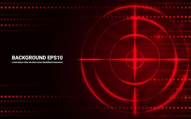 Alvo vermelho abstrato, escala de tiro no fundo preto.