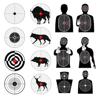 Alvos de tiro de arma e coleção de silhuetas de alvo