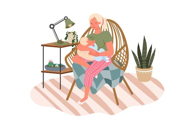 Amamentação lactação feliz dia das mães conceito de maternidade ilustração vetorial bebê bebe leite