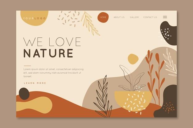 Amamos a página de destino da natureza