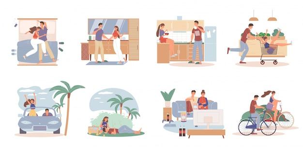 Amando o casal atividades diárias tempo juntos conjunto