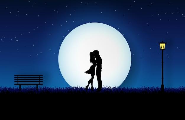 Amante, abraçando, ligado, a, prado, jardim