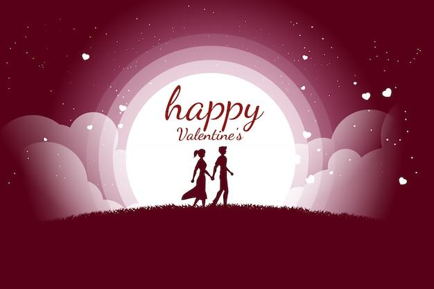 Amante casal segurando a mão andando com fundo de coração a voar