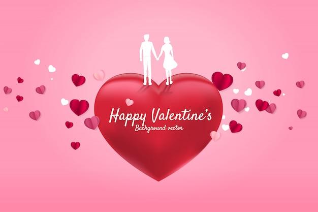 Amante casal segurando a mão em pé no coração vermelho com fundo de coração de papel a voar