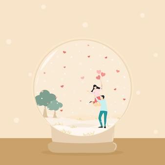 Amante de casal feliz de vetor com neve de fundo natural e coração de balão rosa em bola de neve