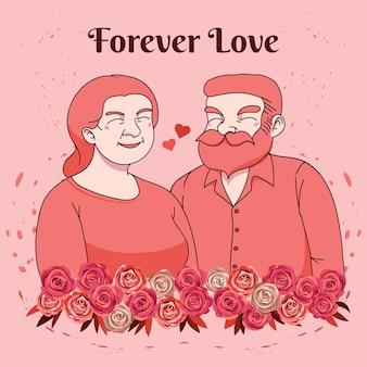 Amante de casal romântico, amor para sempre, cartão de feliz dia dos namorados