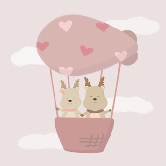 Amante de veados fofos em balão, desenho isolado animais fofos românticos casais apaixonados