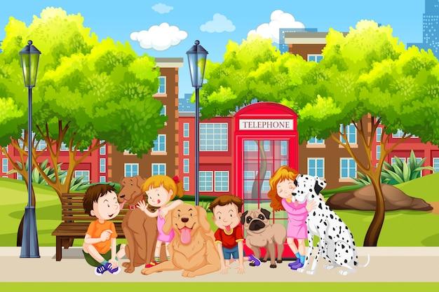 Amante do cão no parque