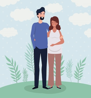 Amantes bonitos casal personagens de gravidez na paisagem