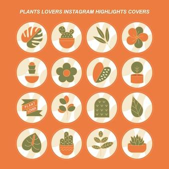 Amantes das plantas, destaques do instagram, capas de vetores grátis
