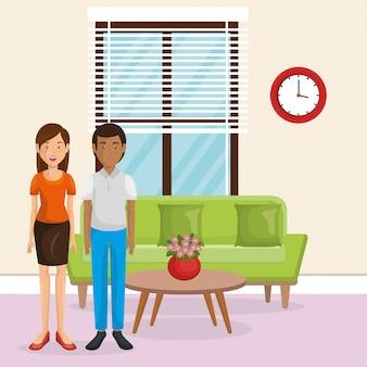 Amantes de casal na sala de estar