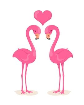 Amantes de flamingos com um coração. ilustração em estilo simples dos desenhos animados. fundo branco.