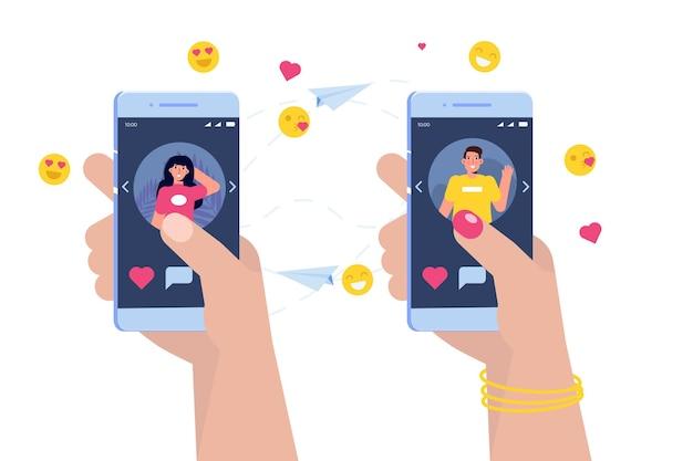 Amantes do bate-papo. pessoas conversando usando aplicativo móvel. rede social, conceito de namoro online. ilustração vetorial.