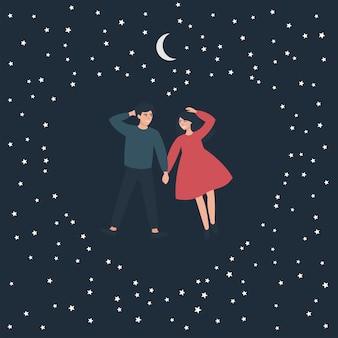 Amantes mentem e olham para o céu da noite estrelada