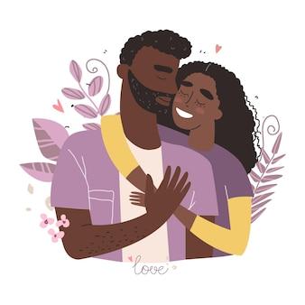 Amantes negros afro-americanos homem e mulher abraçam. conceito de família feliz. casal em um relacionamento apaixonado. dia dos namorados com personagens fofinhos.