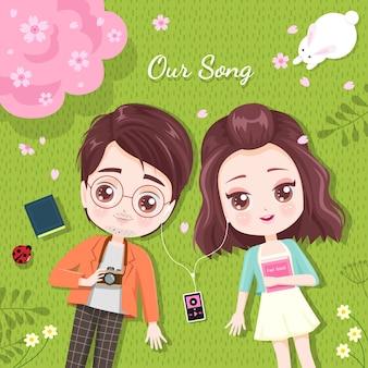 Amantes ouvem música no jardim de cerejeira