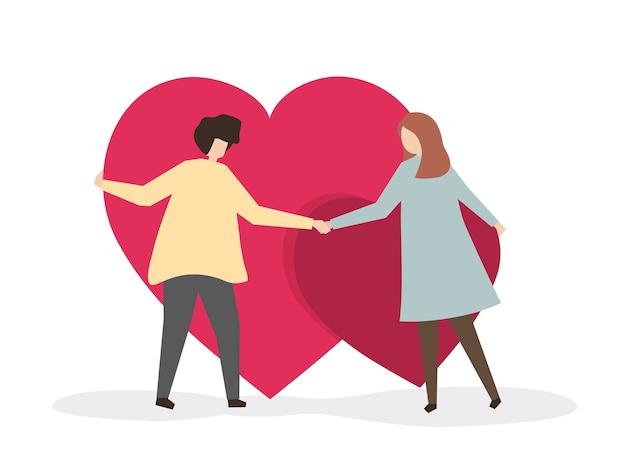 Amantes segurando seu amor
