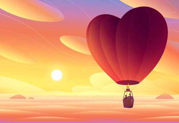 Amantes voando em um balão de ar quente ao pôr do sol