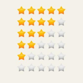 Amarelo classificação por estrelas brilhantes