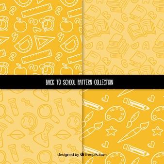 Amarelo de volta à coleção padrão escolar