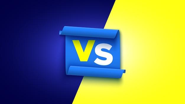 Amarelo e azul versus banner com fita.