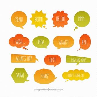 Amarelo, laranja e balões de fala verdes