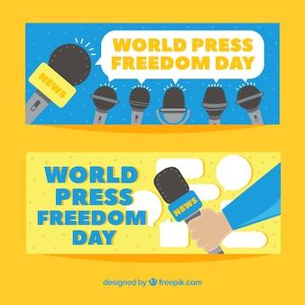 Amarelo mundo liberdade de imprensa dia banners Vetor grátis