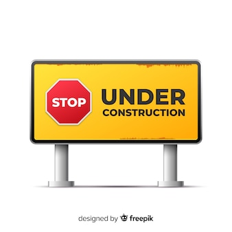 Amarelo sob sinal realista de construção