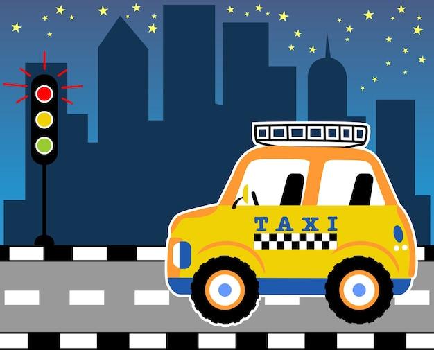 Amarelo táxi cartoon vetor Vetor Premium