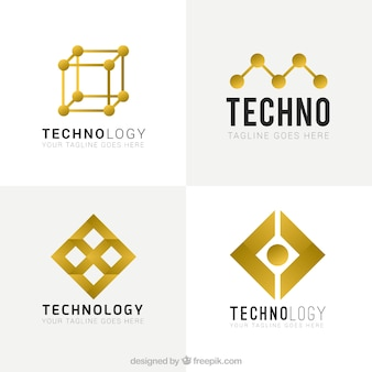 Amarelo tecnológica logos abstrato