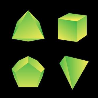 Amarelo verde gradiente cor vários ângulos poliedros decoração formas coleção fundo preto