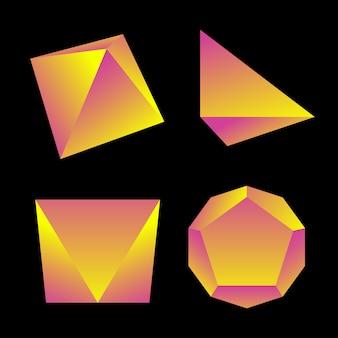 Amarelo violeta gradiente cor vários ângulos poliedros decoração formas coleção fundo preto