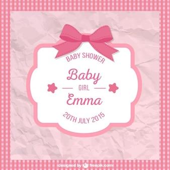 Amarrotado cartão do chuveiro de bebê para menina