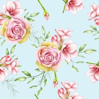 Amaryllis de aquarela sem costura padrão e flores rosas