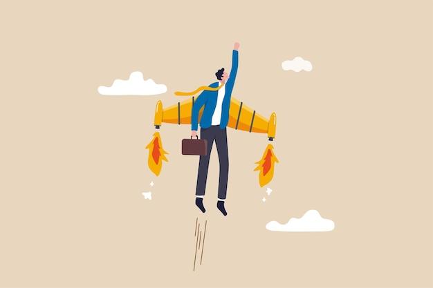 Ambição ou aspiração ao sucesso no trabalho, crescimento na carreira ou impulsionar o desenvolvimento de negócios, empreendedor lança novo conceito de projeto de inicialização, empresário feliz voando alto com foguete propulsor a jato.