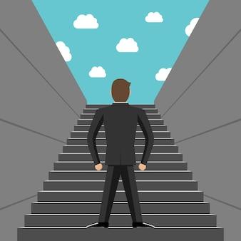 Ambicioso empresário de sucesso subindo degraus. vista traseira. conceito de escada, escadas, sucesso, ambição, objetivo, crescimento e desenvolvimento da carreira. ilustração em vetor eps 8, sem transparência