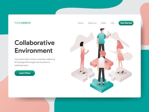 Ambiente colaborativo isométrico para a página do site