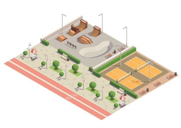 Ambiente de esporte recreativo do parque da cidade moderna para andar de skate patins em linha jogando composição isométrica de tênis