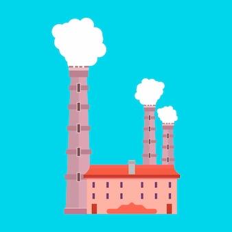 Ambiente de ícone do vetor indústria produção produção. arquitetura de fumaça de poluição