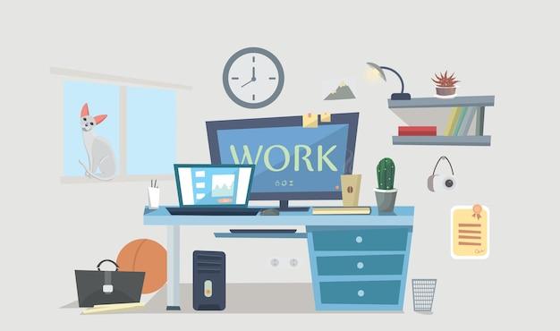 Ambiente de trabalho. espaço de design, mesa com computador, abajur, livros, porta-retratos, quarto de estudante