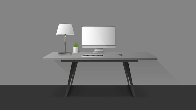 Ambiente de trabalho. monitor, teclado, mouse de computador, abajur, planta de casa.