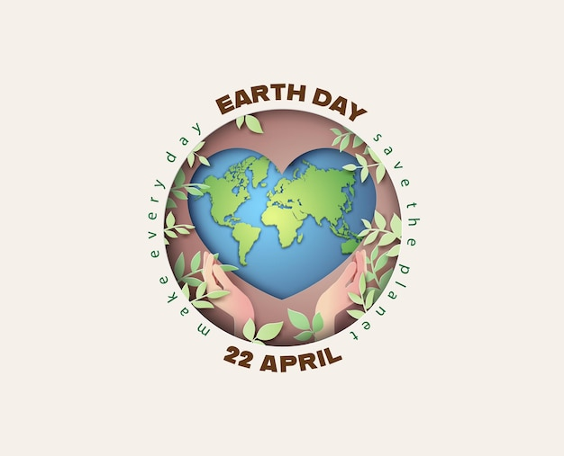 Ambiente mundial e conceito do dia da terra, corte de papel, estilo de colagem de papel com artesanato digital.