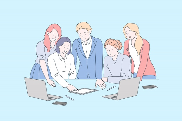 Ambiente positivo no local de trabalho, conceito de reunião de negócios