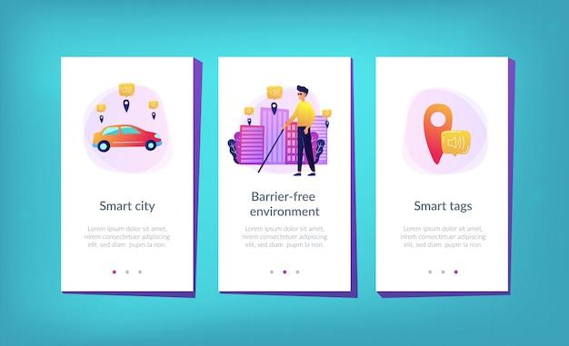 Ambiente sem barreiras e modelo de interface de aplicativo de cidade inteligente.