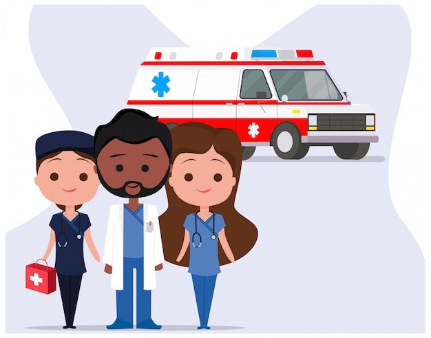 Ambulância com equipe de personagem médica paramédica