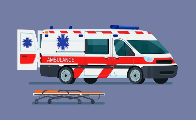 Ambulância com maca para o paciente.