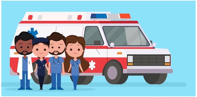 Ambulância com personagens médicos