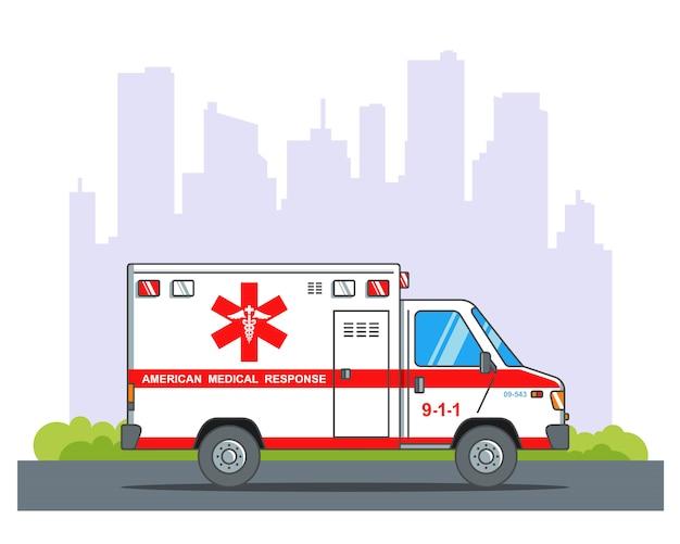 Ambulância corre para o resgate contra o pano de fundo da cidade. ilustração plana